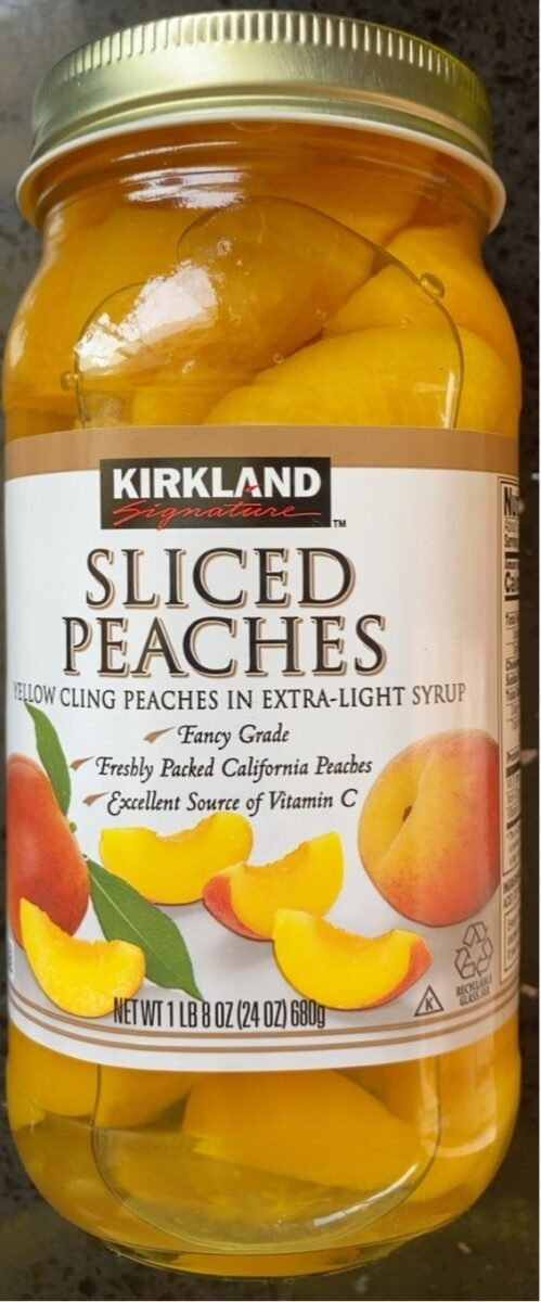 Kirkland Peaches Sliced, Cling, Yellow, In Extra Light Syrup - Voedingswaarden - fr