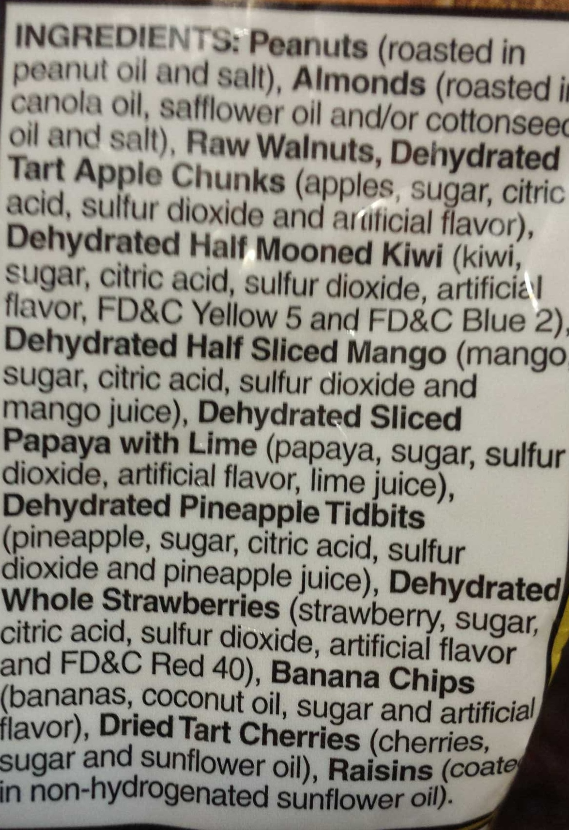 kirkland fruit nut medley - Ingredients