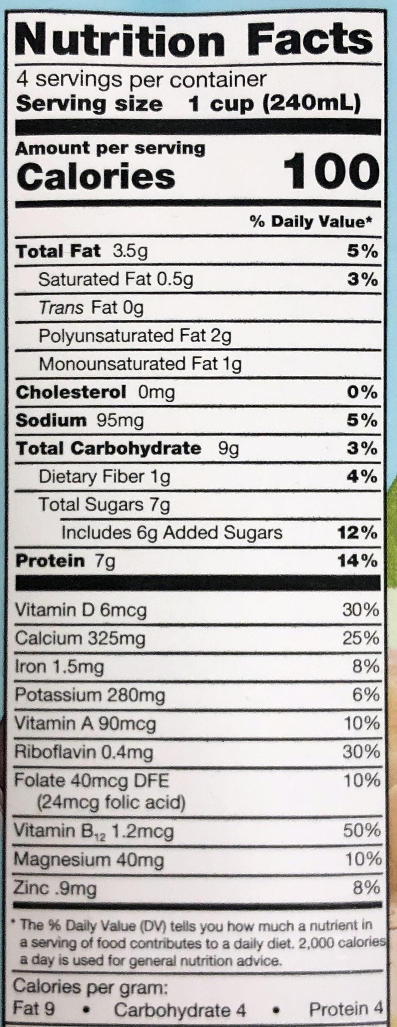 Organic Soy Non-Dairy Beverage Vanilla - Nutrition facts - en