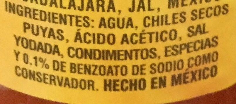 Valentina Mexican hot sauce - Ingredientes - es