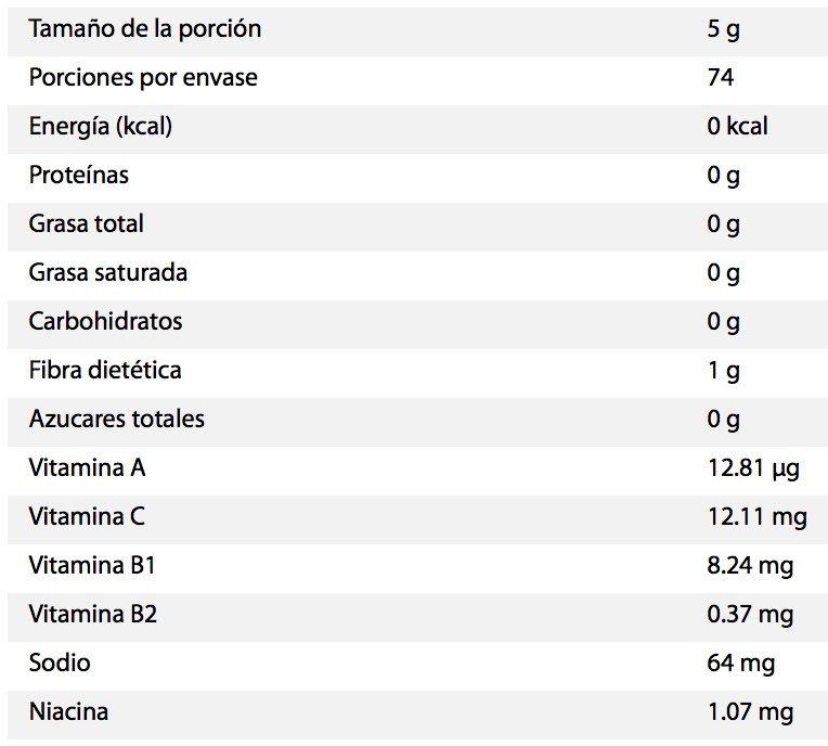 Valentina Mexican hot sauce - Información nutricional - es