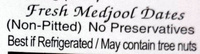 Natural Delights Medjool Dates - Ingredients