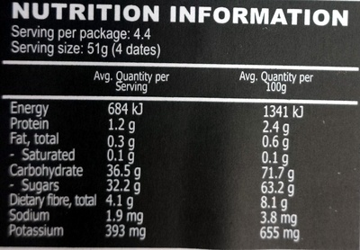 Bard valley natural delights, medjool dates - Nutrition facts