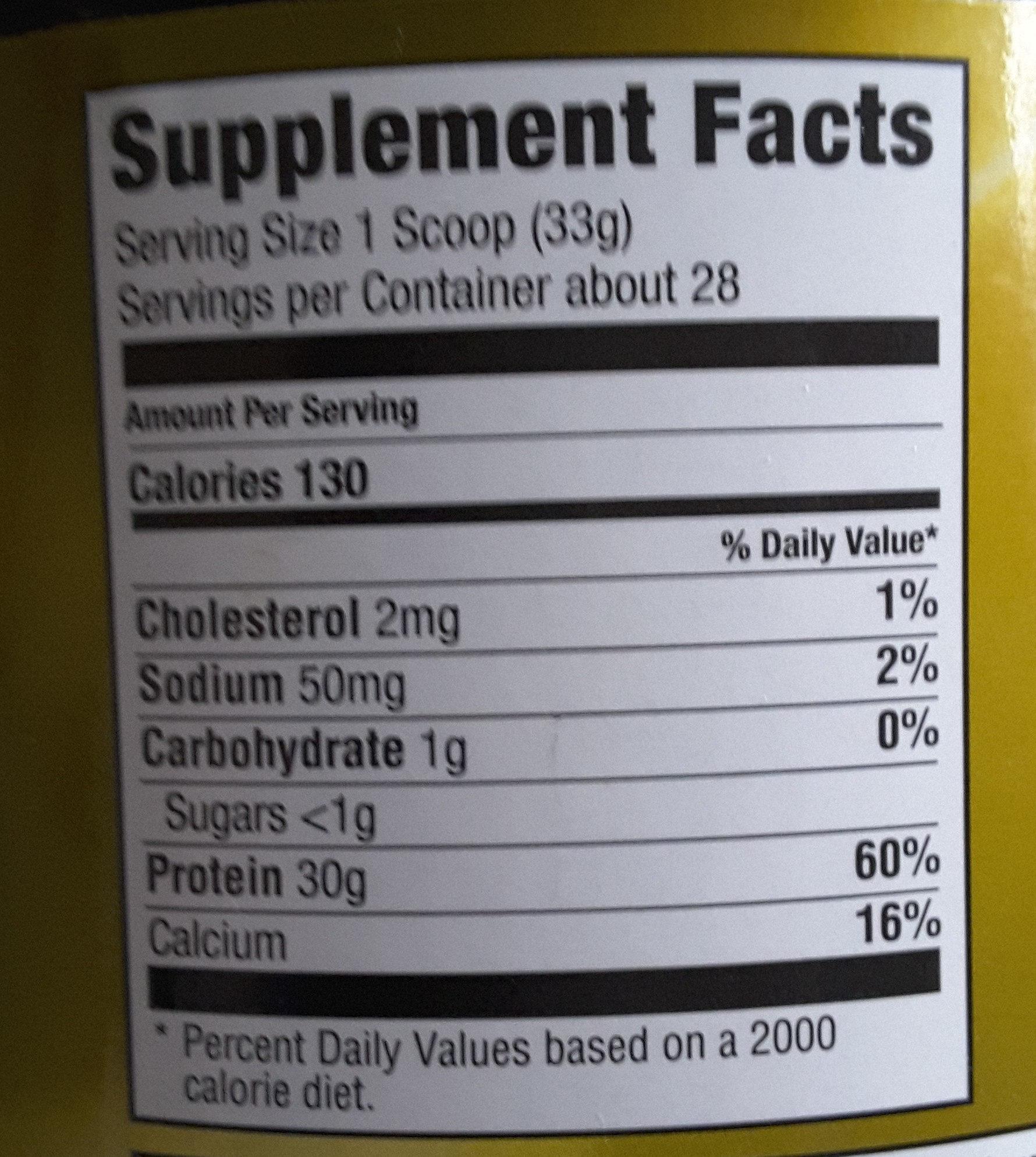 iso sensation - Informations nutritionnelles