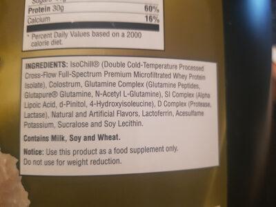 ISO Sensation 93 - Vanilla Bean - Ingredients