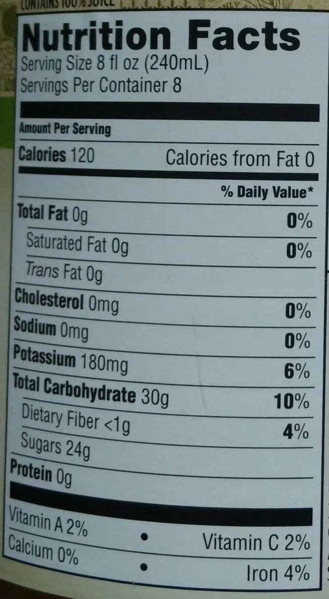 Organic juice - Nutrition facts - en