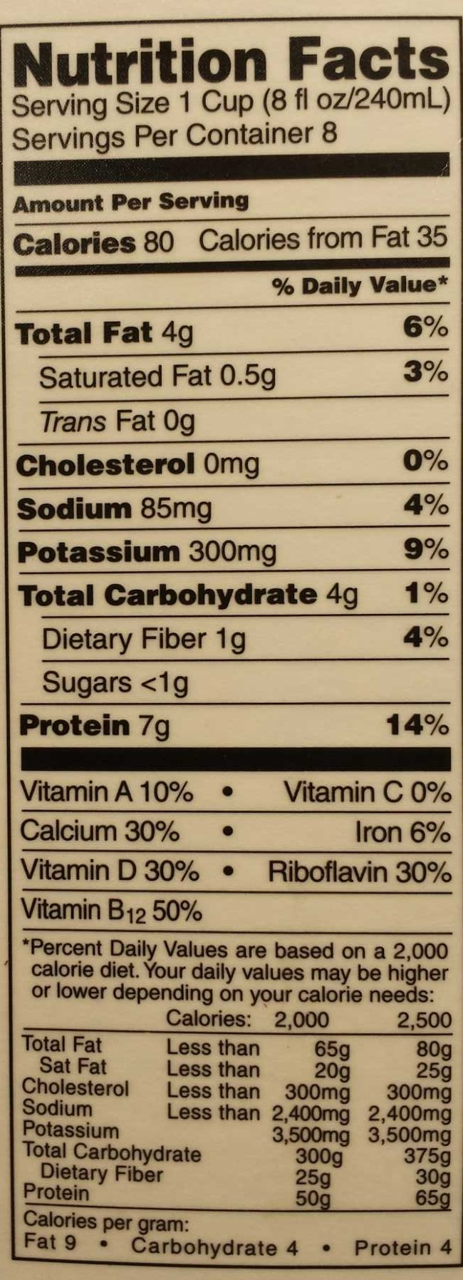 Organic Soymilk Unsweetened - Nutrition facts