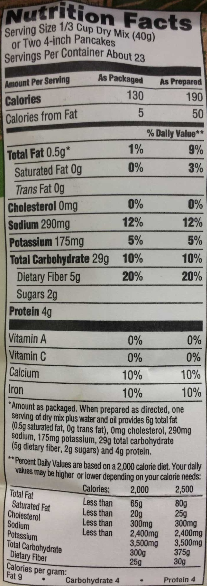 Organic Buttermilk Pancake and Waffle Mix - Nutrition facts