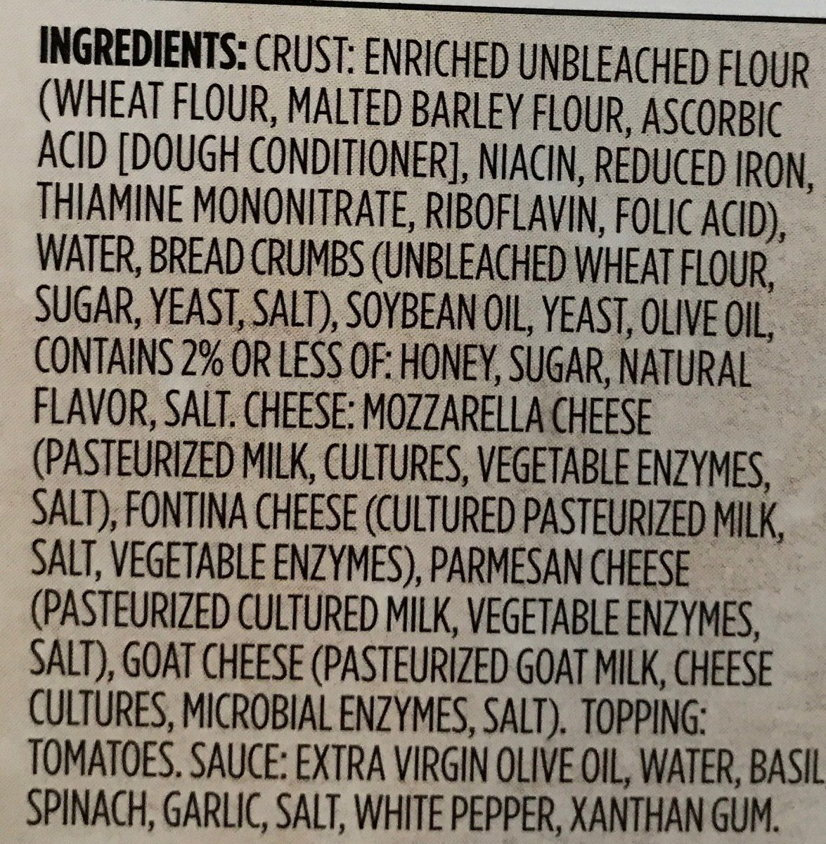 Thin Crust Pizza - Ingredients