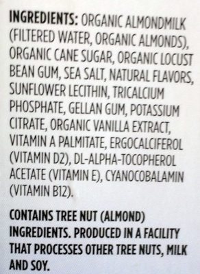 Almond Milk Vanilla - Ingredients