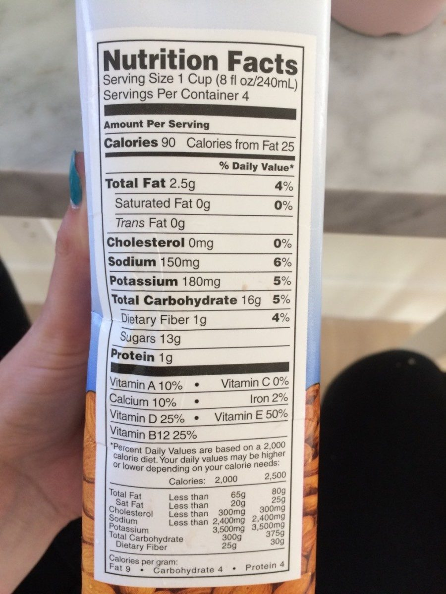 Almond Milk Vanilla - Nutrition facts