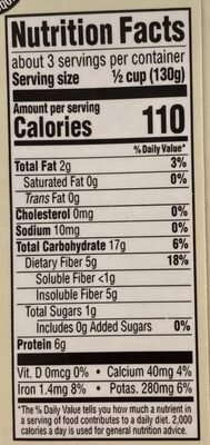 365 everyday value, organic garbanzo beans - Nutrition facts - en