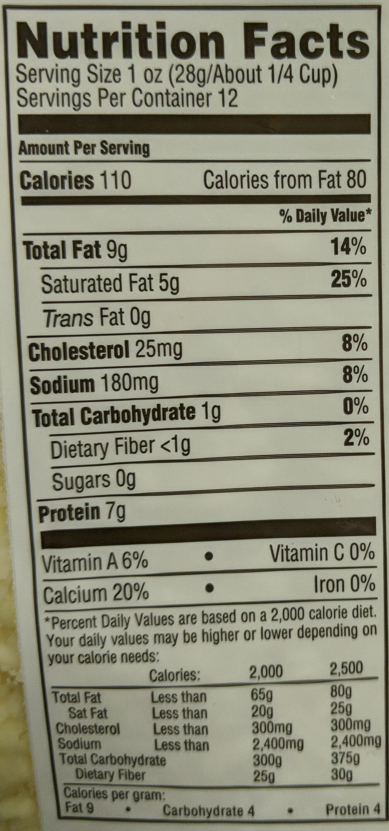 Organic Sharp Cheddar Cheese - Nutrition facts
