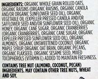 Organic Fruit & Nut Granola - Ingredients
