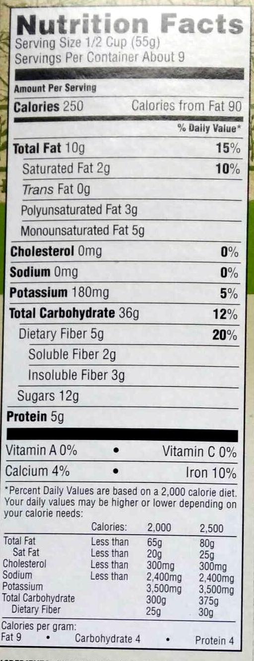 Organic Fruit & Nut Granola - Nutrition facts