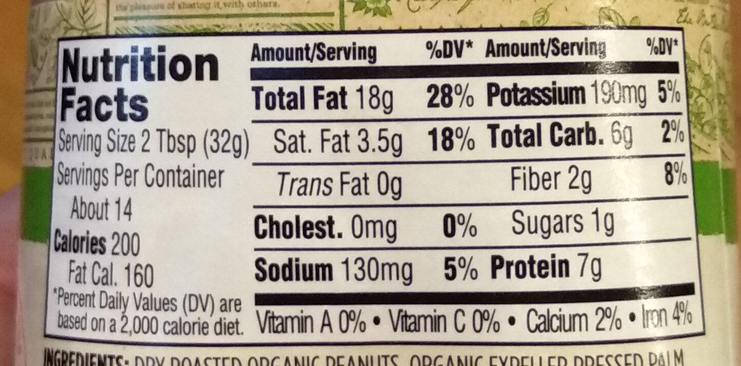 365 everyday value, peanut butter, creamy unsweetend - Informations nutritionnelles - en
