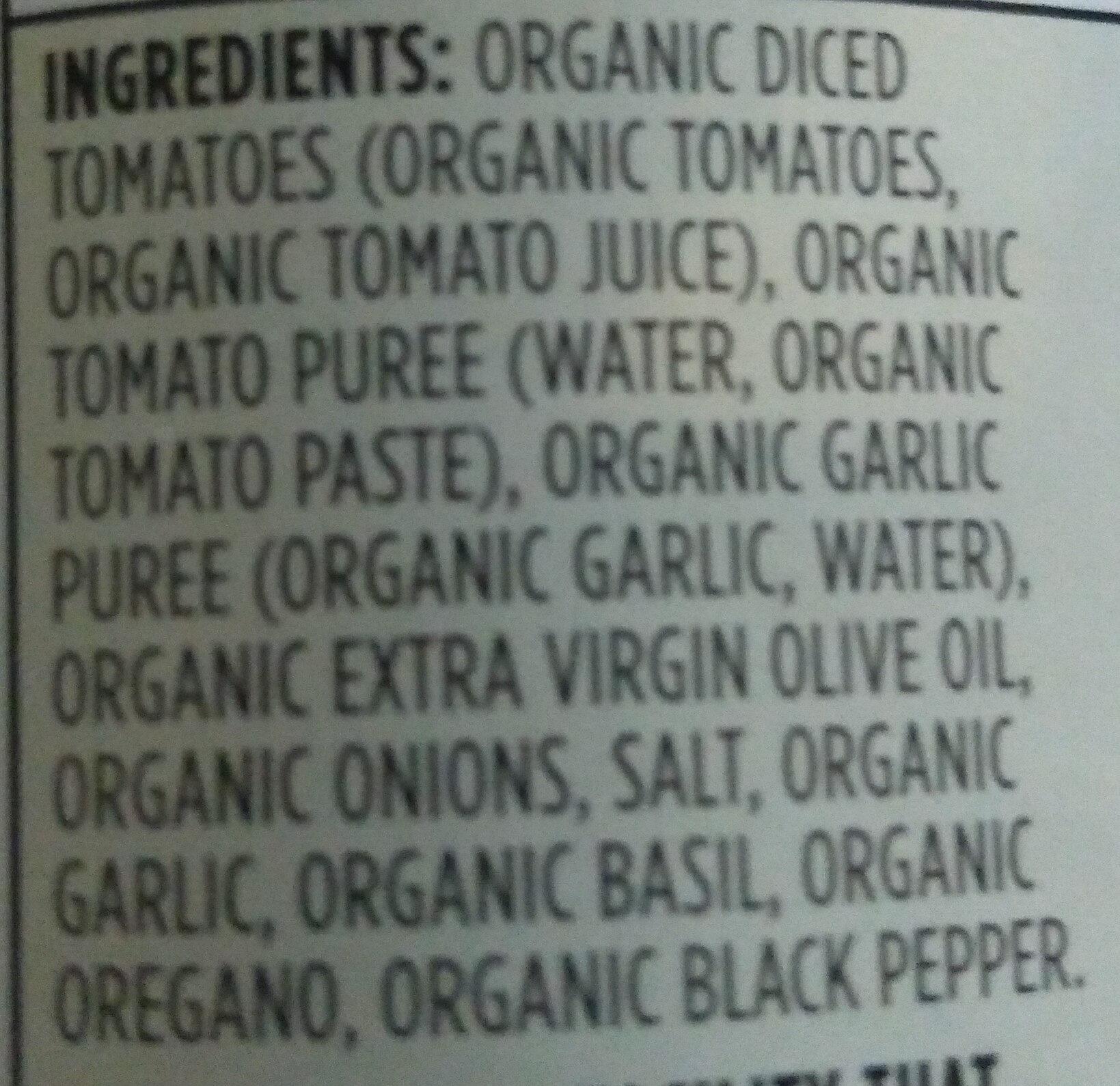 Marinara pasta sauce - Ingredients
