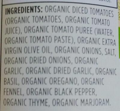 Organic Italian Herb Pasta Sauce - Ingredients