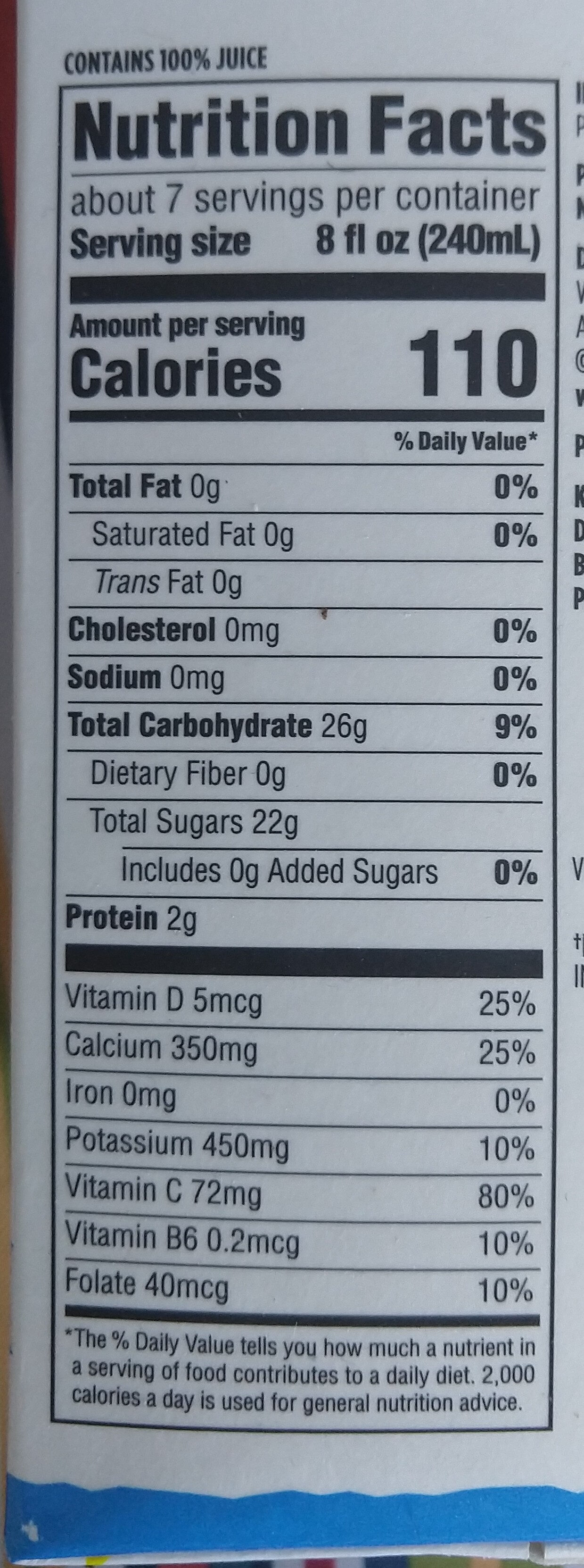 Florida Orange - Nutrition facts