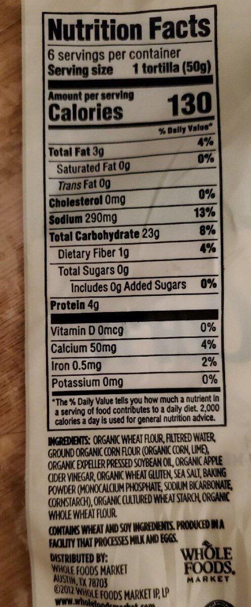 Flour & corn tortillas, flour & corn - Nutrition facts - en