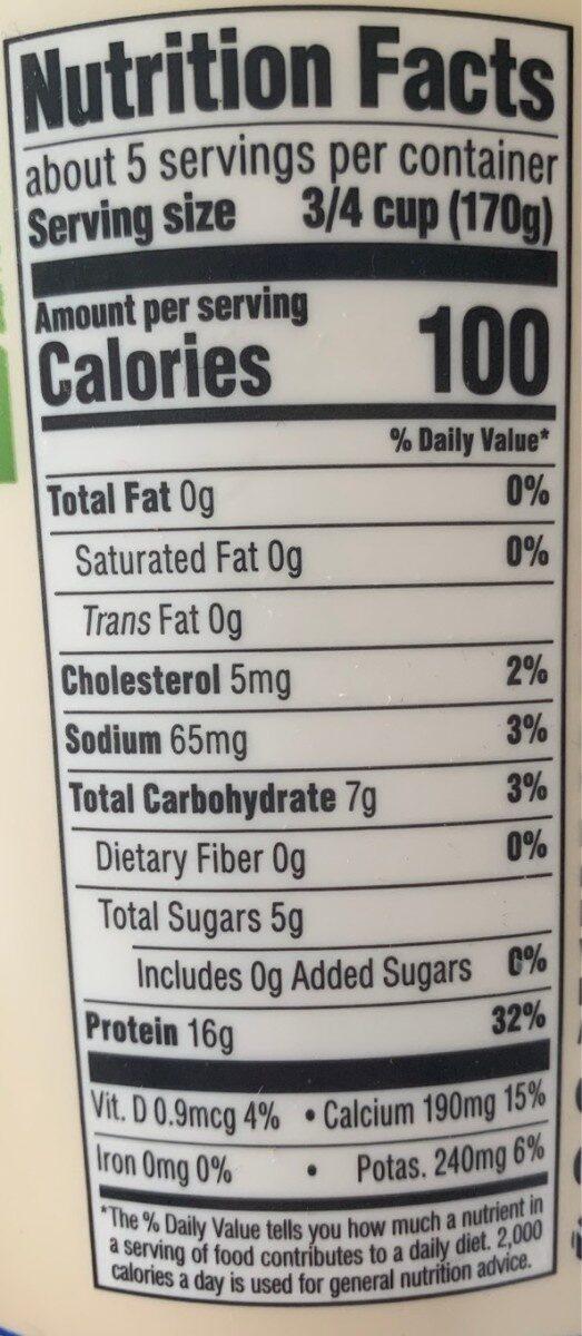 Plain greek nonfat yogurt, plain - Nutrition facts - en