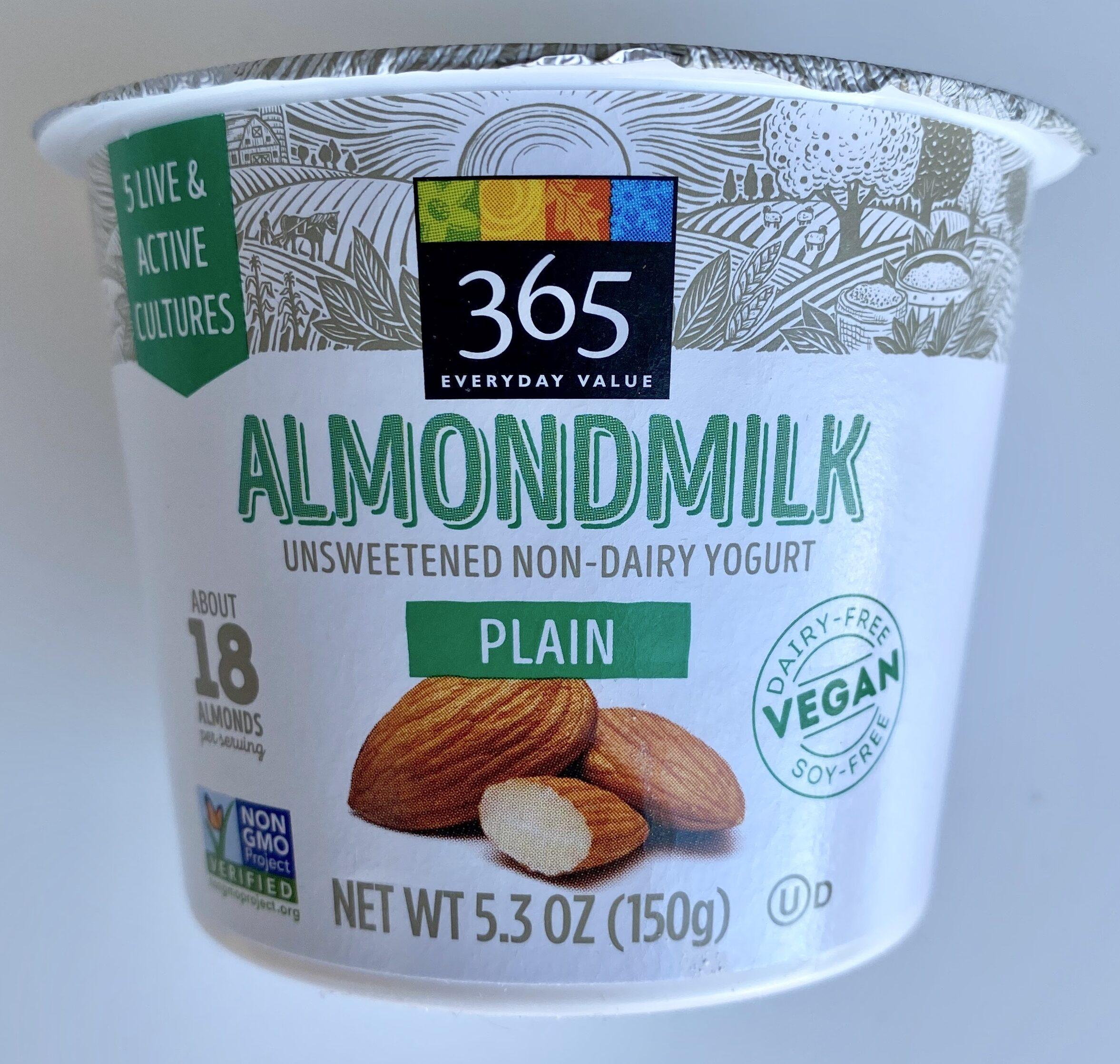 Plain almondmilk unsweetened non-dairy yogurt, plain almondmilk - Product - en