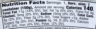 Plain almondmilk unsweetened non-dairy yogurt, plain almondmilk - Nutrition facts - en