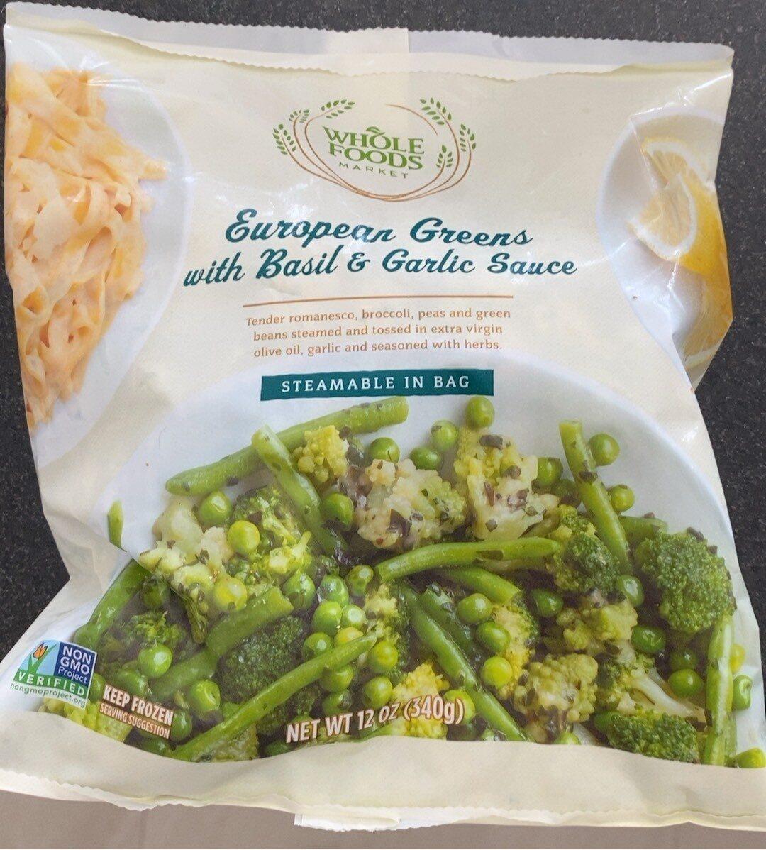 European greens with basil & garlic sauce - Product - en