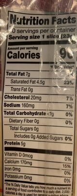 Mild cheddar cheese slices - Nutrition facts - en