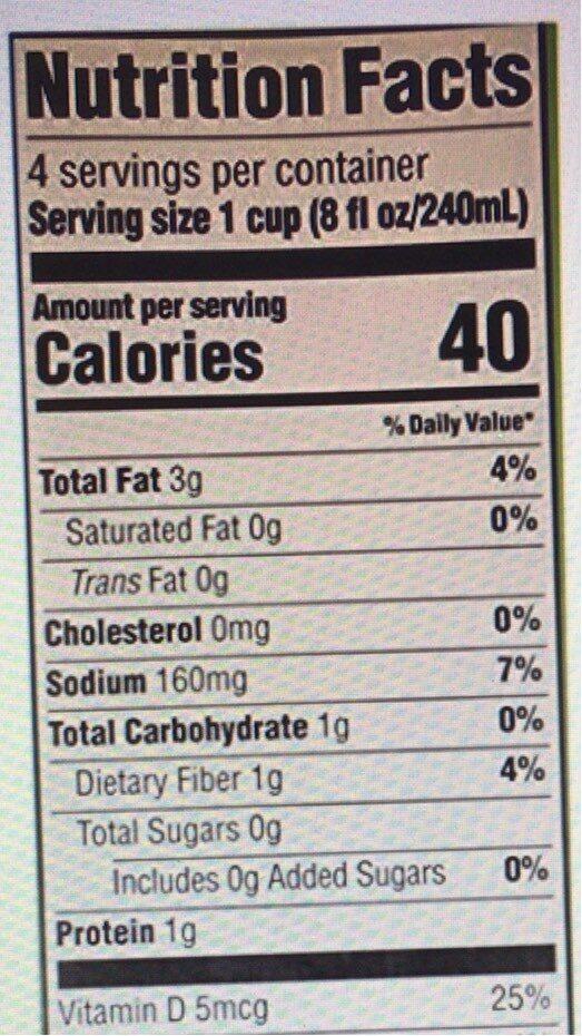 Organic unsweetened chocolate almondmilk - Informação nutricional - en