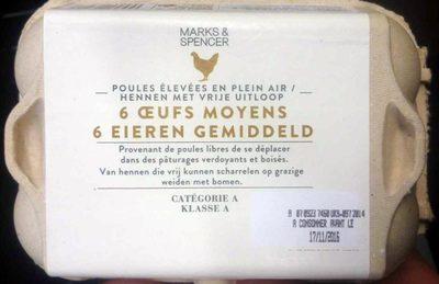 6 Œufs Moyens de Poules Élevées en Plein Air - Product