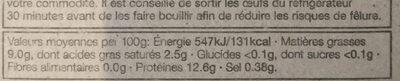 6 Œufs Moyens de Poules Élevées en Plein Air - Informations nutritionnelles