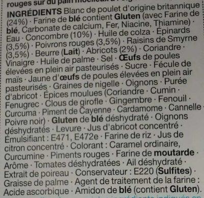 Poulet et Sauce à la Mayonnaise Épicée sur du Pain à l'Oignon - Ingredients
