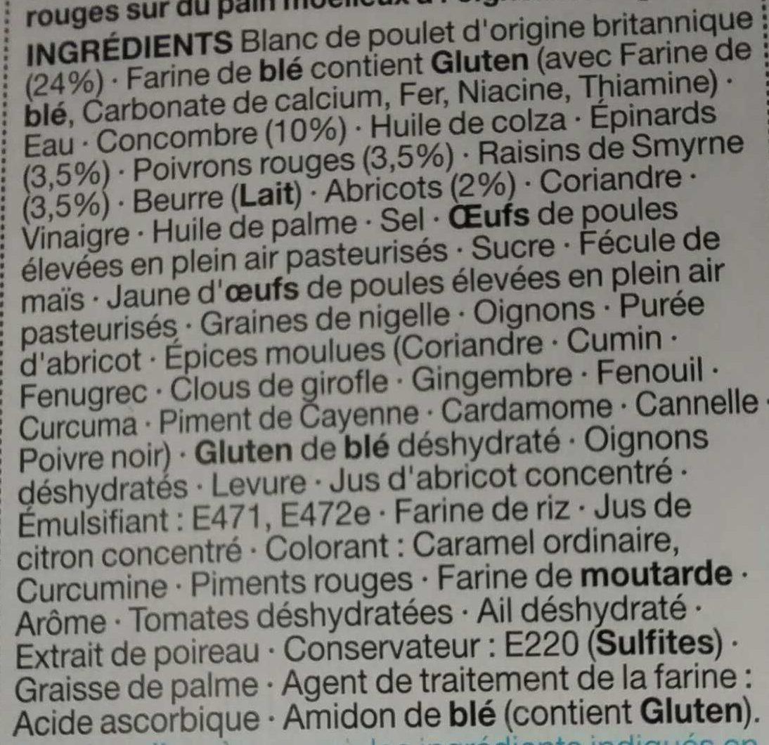 Poulet et Sauce à la Mayonnaise Épicée sur du Pain à l'Oignon - Ingredients - fr