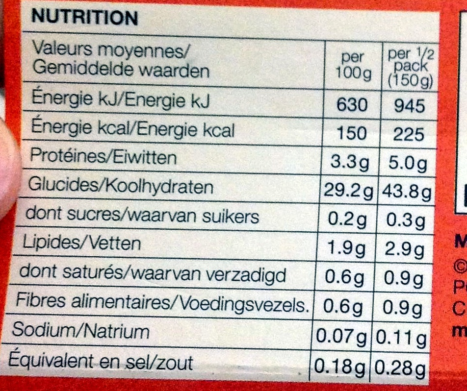 Basmati Rice - Informations nutritionnelles