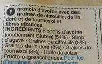 3 Seed & Oat Granola - Ingredients