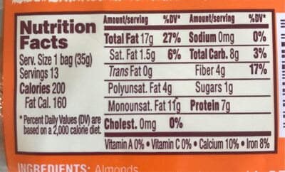 Just a Handful of raw Almonds - Nutrition facts - en