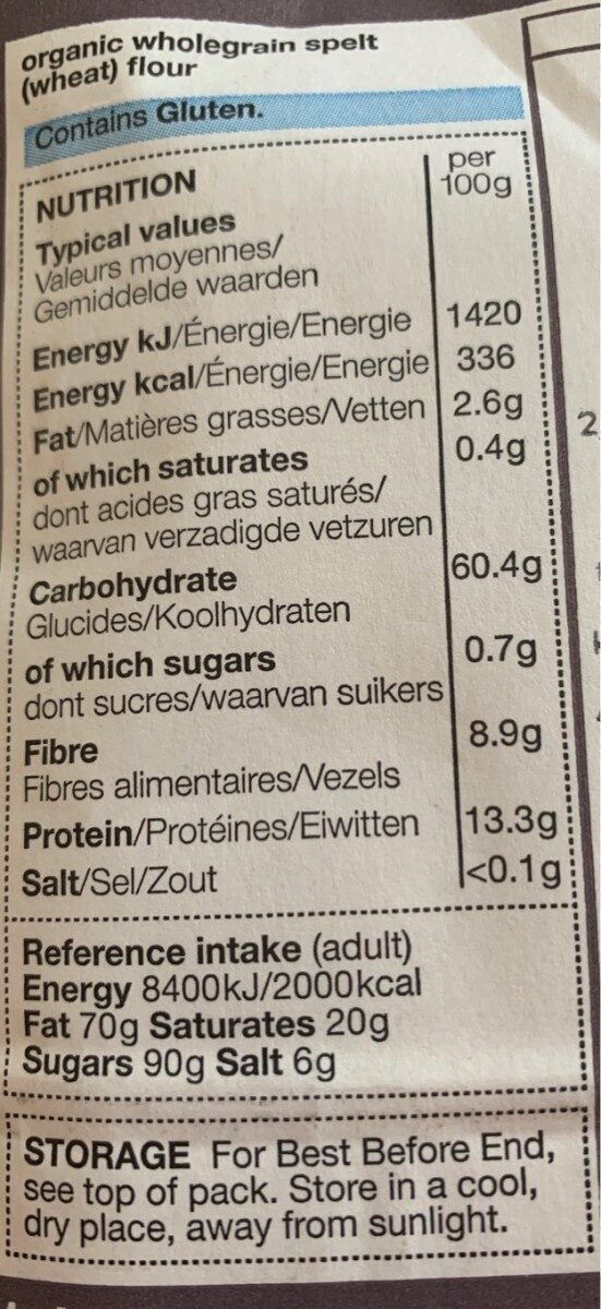 Organic wholegrain spelt flour - Nutrition facts