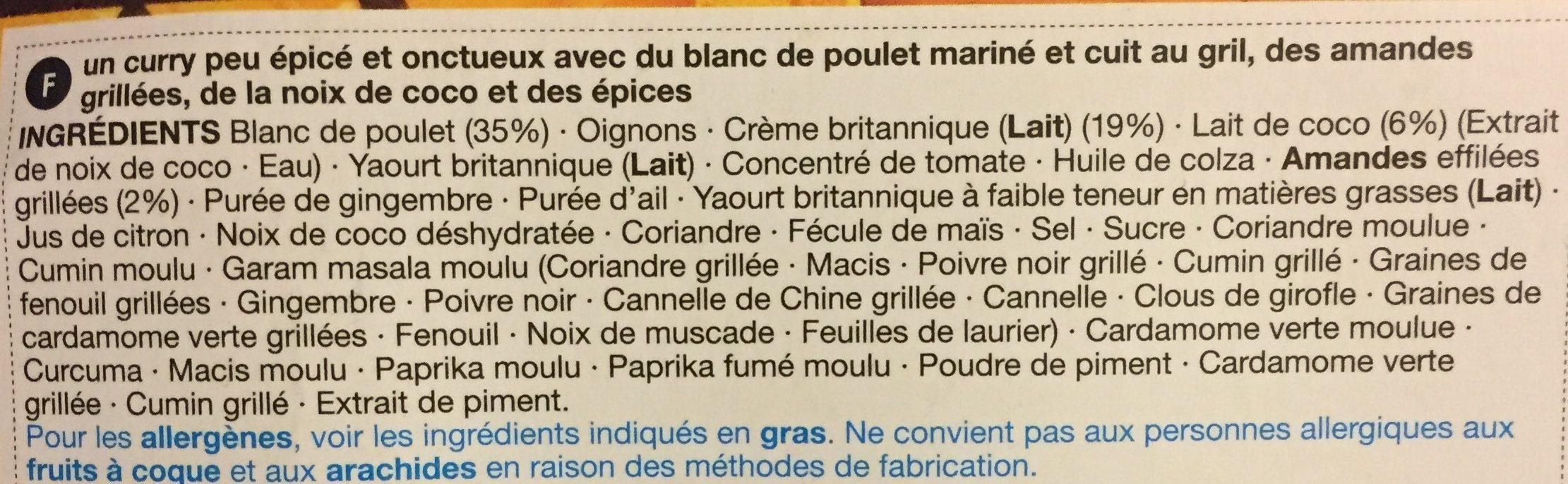Poulet Korma - Ingredients