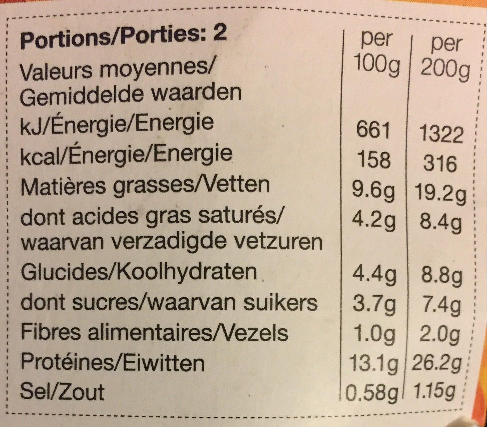 Poulet Korma - Voedingswaarden - fr