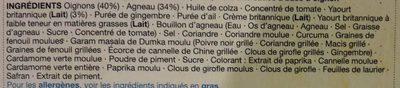 Lamb Rogan Josh - Ingredients - fr