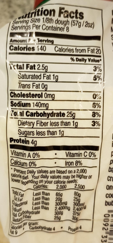 Pizza Dough low fat - Nutrition facts - en