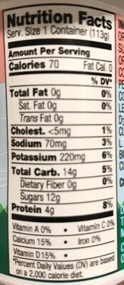 Organic Strawberry Nonfat Yogurt - Nutrition facts