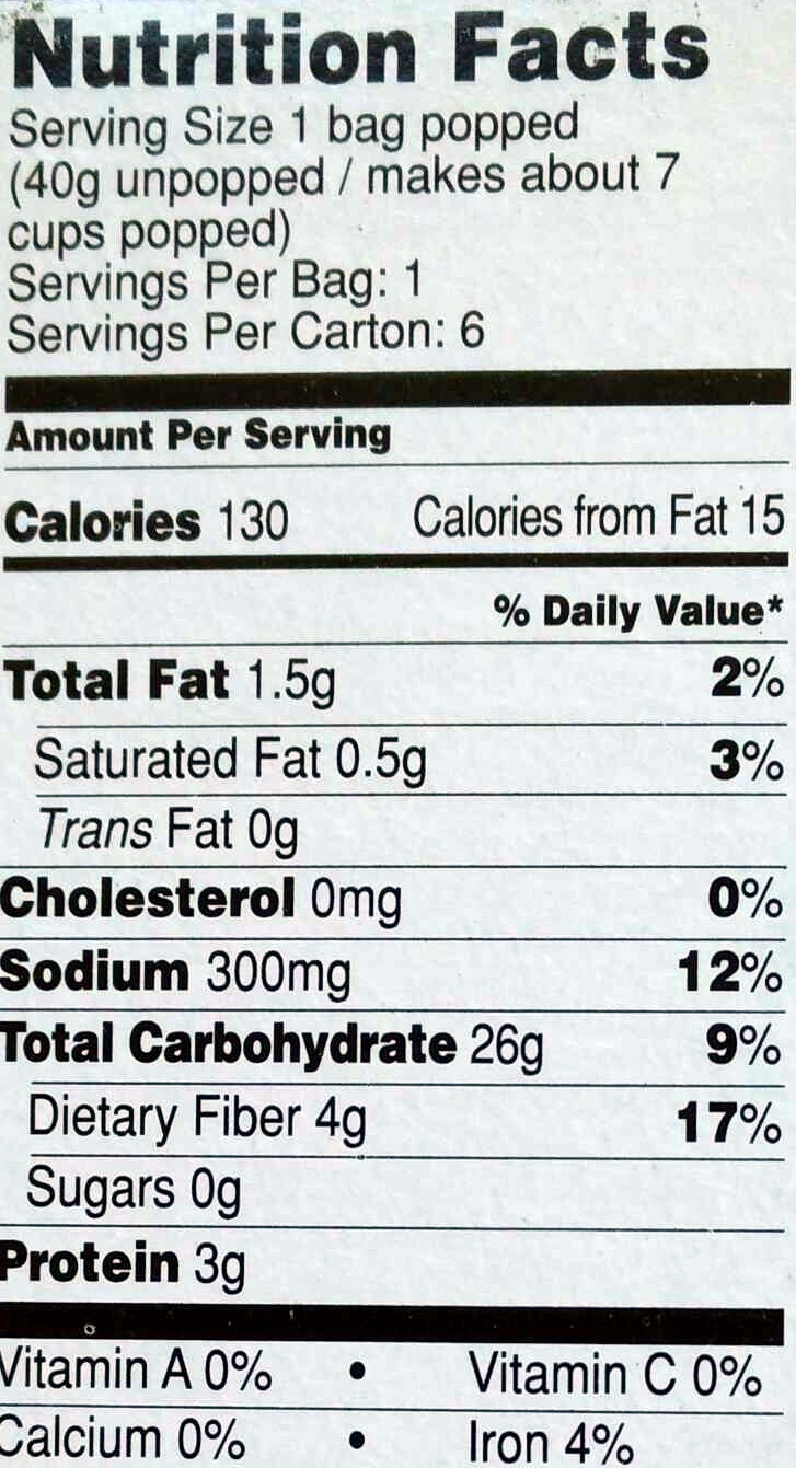 Nutrition Facts Microwave Er Popcorn