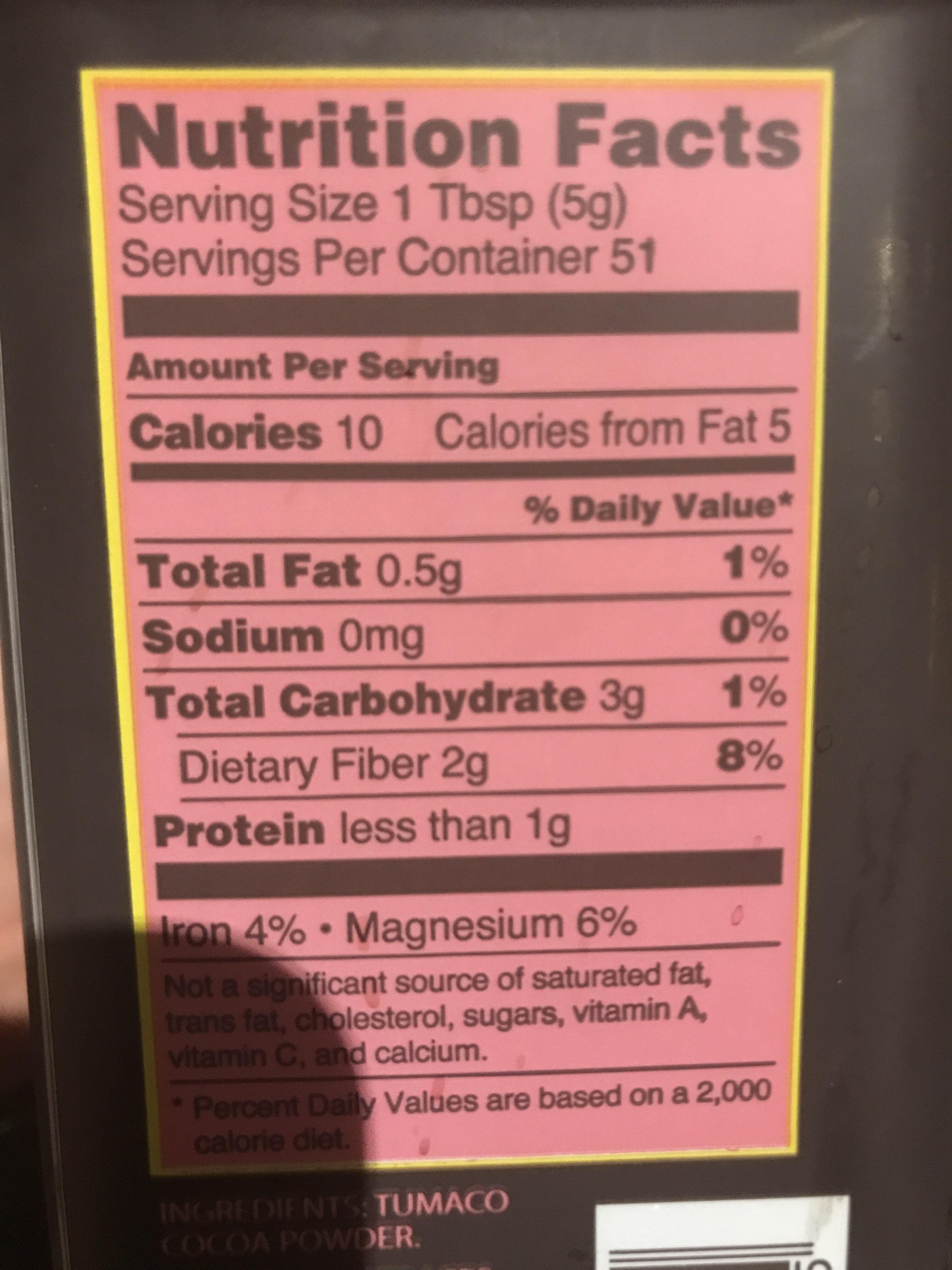 Cocoa powder - Nutrition facts - en
