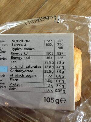 M&S mini cocktail sausage rolls - Nutrition facts - en