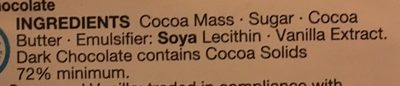 Dark Chocolate 72% Cocoa Solids - Ingredients