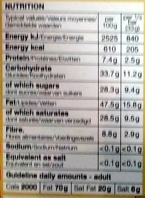Dark Chocolate 72% Cocoa Solids - Nutrition facts