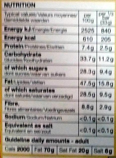 Dark Chocolate 72% Cocoa Solids - Nutrition facts - en