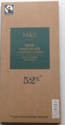 Dark Chocolate with Ginger & Lemon - Product